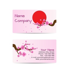Business Card with Blooming Sakura vector image