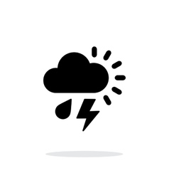 Rain with lightning weather simple icon on white vector