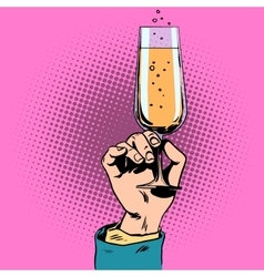 Toast a glass of champagne wine in hand vector