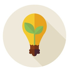 Flat natural environment plant with idea lamp vector