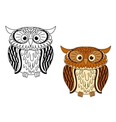 Brown and colorless cartoon owl birds vector