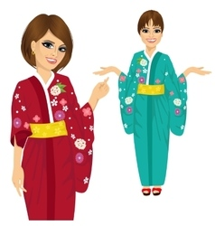 Attractive japanese woman wearing kimono vector