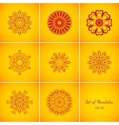Set of magic red glow mandalas vector