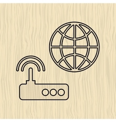 Router communication design vector