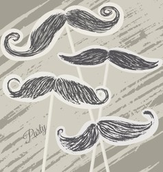 Mustache retro party background vector image