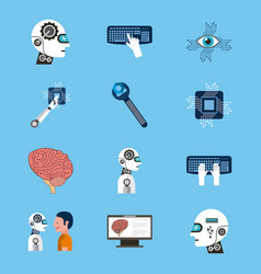 Artificial intelligence icons set technology vector