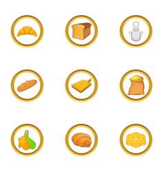 Bakery profession icon set cartoon style vector
