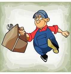 Cartoon plumber man in uniform is running vector