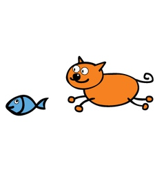 Cat chasing fish vector