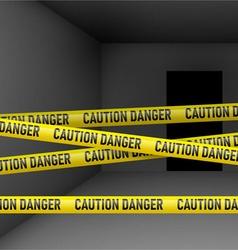 Dark room with danger tape vector
