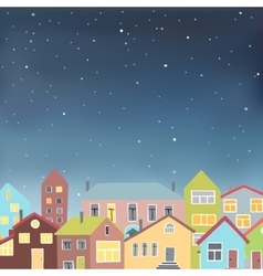 Different houses on the starry sky background vector image
