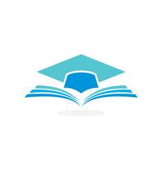 education logo concept with graduation cap and ope vector image vector image