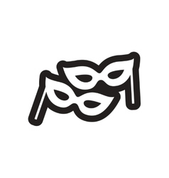 Flat icon in black and white carnival mask vector