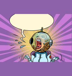 Funny angry woman astronaut vector