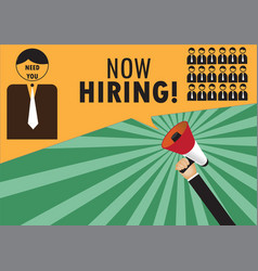 Hand holding megaphone to speech - we are hiring vector