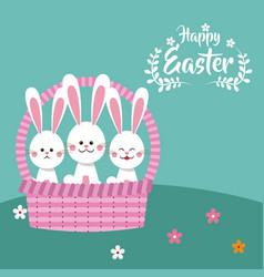 Happy easter bunnies in basket decorative vector