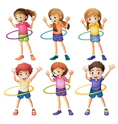 Kids playing hulahoop vector image vector image