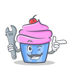 mechanic cupcake character cartoon style vector image vector image