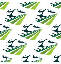 Modern green train seamless pattern vector