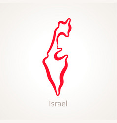 Outline map of israel marked with red line vector