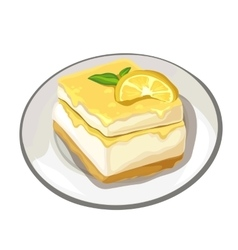 Piece of delicious cake with lemon on top dessert vector
