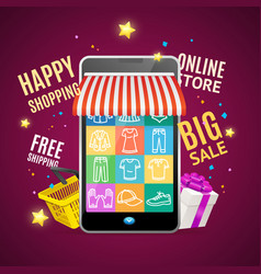 realistic detailed 3d mobile phone shopping online vector image vector image
