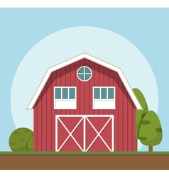 Red farm house flat style vector image
