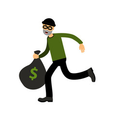 Robber character running with big money bag vector