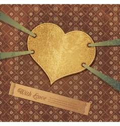 romantic retro background with heart vector image