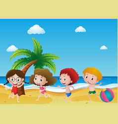 Scene with four children playing on the sand vector