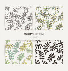 Set of seamless patterns from leaves and twigs vector
