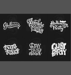 set with phrase for halloween lettering vector image vector image