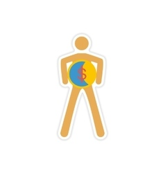 Stylish sticker on paper person with coin vector