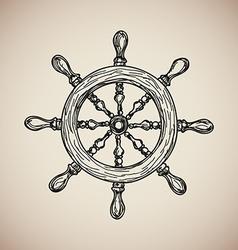 Vintage Marine Steering Wheel isolated engrave vector image