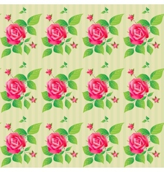 Vintage seamless pattern with beautiful roses vector image
