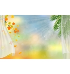 Curtains autumn maple and palm tree vector