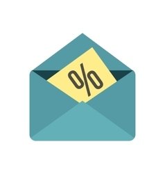 Card with percent sign the envelope icon vector
