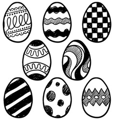 doodle easter eggs vector image