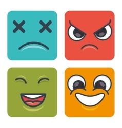 cartoon faces emoticons square vector image