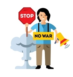 Pacifism no war protest woman flat style vector