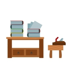 Book stacking table and plane on chair vector image