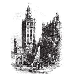 Seville cathedral vintage engraving vector