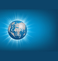 earth day banner lettering on blue vector image