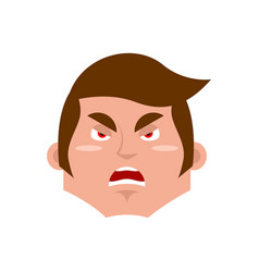 Guy angry emoji boy aggressive emotion isolated vector