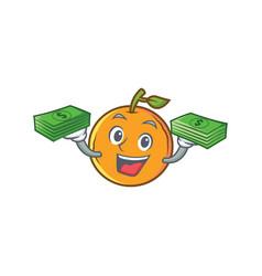 Orange fruit cartoon character with money vector