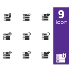 Black database icons set vector