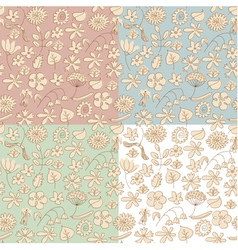 Seamless background made of beige wildflowers vector