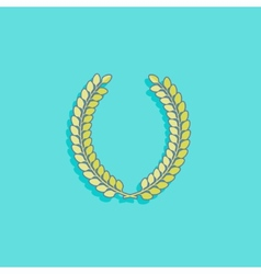 With laurel wreath in flat style design vector