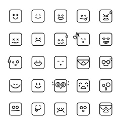 Collection of difference emoji line linear icon on vector