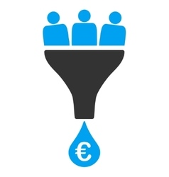 Euro sales funnel icon vector